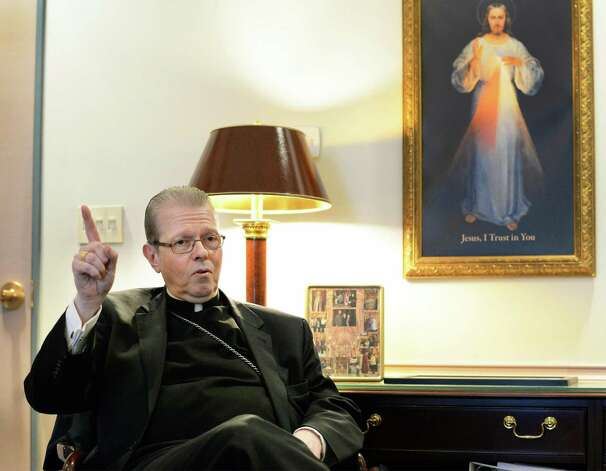 Bishop Edward Scharfenberger discusses plans for Bishop Maginn High School during an interview at the Pastoral Center Tuesday March 24, 2015 inAlbany, NY.  (John Carl D'Annibale / Times Union) Photo: John Carl D'Annibale / 00031151A