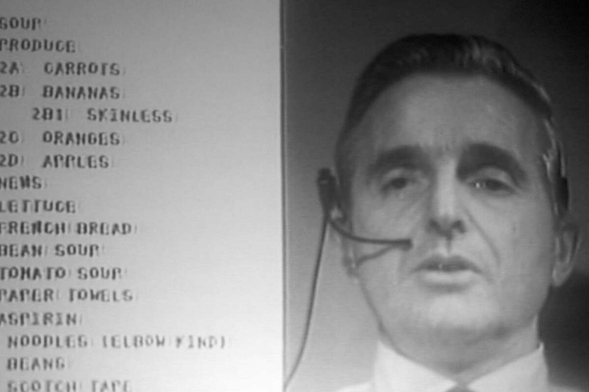 Douglas Engelbart during the 1968 demonstration of the precursor to personal computing, presented on live video in a breakthrough of its own.