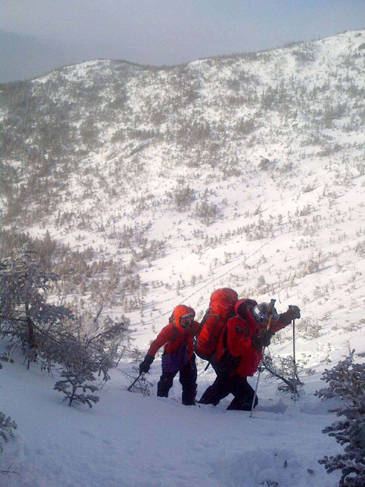 New York State Department of Environmental Conservation Forest Rangers search for a mother and her two sons on Mt. Marcy last weekend in Essex County, N.Y. (New York State DEC)