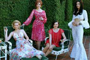 January Jones as Betty Francis, Christina Hendricks as Joan Harris, Elisabeth Moss as Peggy Olson and Jessica Pare as Megan Draper - Mad Men _ Season 7B, Gallery - Photo Credit: Frank Ockenfels 3/AMC