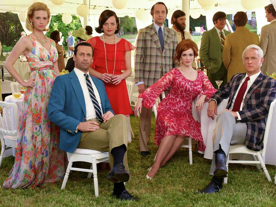 """The final season of Mad Men begins April 5. These seven episodes will end the series. When the first half of season 7 aired, Don Draper (Jon Hamm) was fighting to get his job back. He ultimately succeeds after founding partner Bert Cooper dies and Roger Sterling sells a stake in the agency to halt senior partner Jim Cutler's plan to force Don out. Don is back in the firm but his marriage to Megan appears to have ended. Here are some photos from the upcoming season. January Jones as Betty Francis, Jon Hamm as Don Draper, Elisabeth Moss as Peggy Olson, Vincent Kartheiser as Pete Campbell, Elisabeth Moss as Peggy Olson and John Slattery as Roger Sterling in Mad Men's final season, numbered """"7B."""" Photo: Frank Ockenfels 3/AMC"""