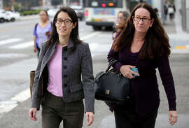 Ellen Pao (left) and her lawyer, Therese Lawless, leave court, where Pao is suing venture capital firm Kleiner Perkins.