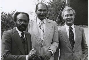 George Moscone(right) with Willie Brown (left) and the late Tom Bradley, longtime Los Angeles mayor.