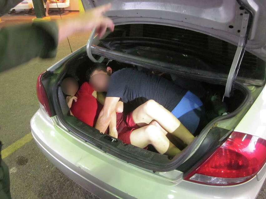 Subjects rescued from a car trunk at the Falfurrias Border Patrol Checkpoint,