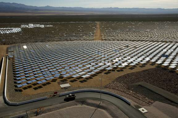 At the Ivanpah Solar Electric Generating System in California's Mojave Desert, some of the plant's 347,000 garage-door-sized mirrors used to generate power can be seen. California is looking for a reliable way to store green energy for when customers need it. (Mark Boster/Los Angeles Times/TNS)