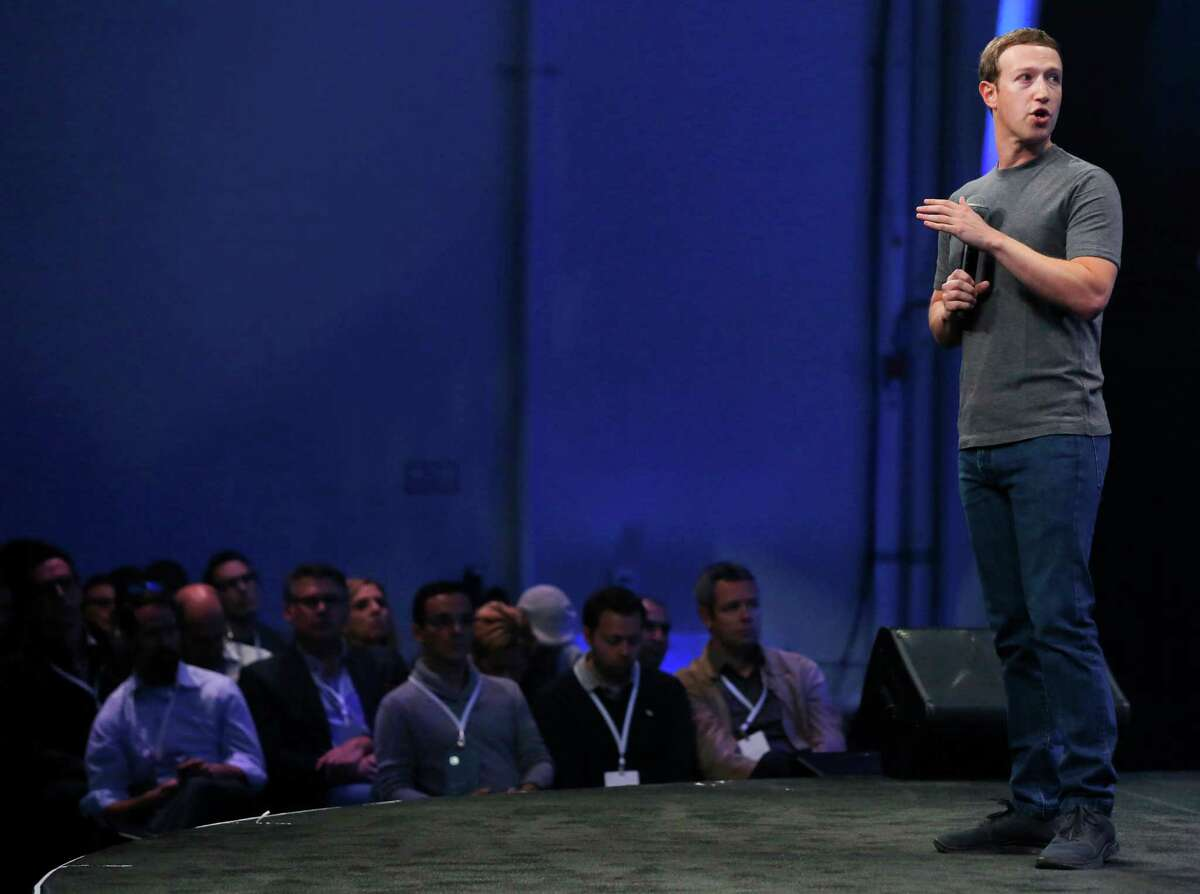 Facebook CEO Mark Zuckerberg delivers the keynote speech during the first day of the F8 Facebook Developer Conference at the Fort Mason Center March 25, 2015 in San Francisco, Calif. Facebook CEO Mark Zuckerberg unveiled its Messenger Platform among other announcements.