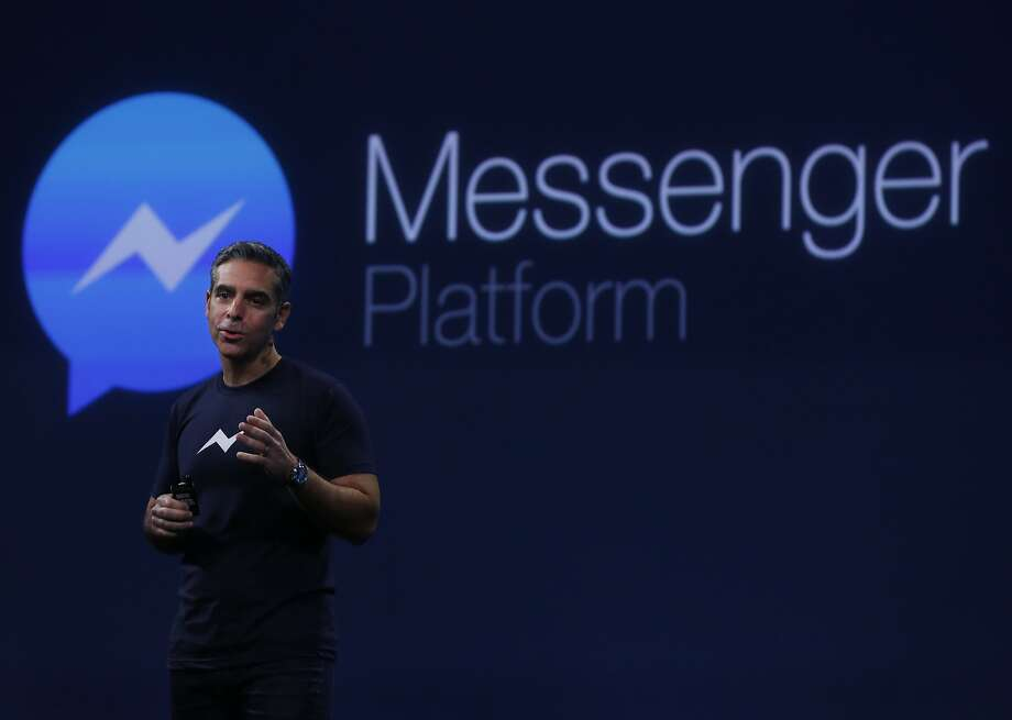 David Marcus, Vice President of Messaging Products at Facebook, gives a speech about the new Messenger Platform during the first day of the F8 Facebook Developer Conference at the Fort Mason Center March 25, 2015 in San Francisco, Calif. Facebook CEO Mark Zuckerberg unveiled its Messenger Platform among other announcements. Photo: Leah Millis, The Chronicle