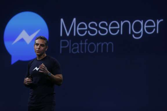 David Marcus, Vice President of Messaging Products at Facebook, gives a speech about the new Messenger Platform during the first day of the F8 Facebook Developer Conference at the Fort Mason Center March 25, 2015 in San Francisco, Calif. Facebook CEO Mark Zuckerberg unveiled its Messenger Platform among other announcements.