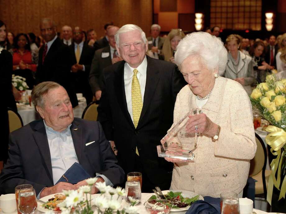 Former First Lady Barbara Bush smiles after receiving the Eugene H. Vaughan Civic Leadership Award at the Future of Leadership Luncheon at the Hilton Americas Hotel. Photo: Jon Shapley, Staff / © 2015 Houston Chronicle