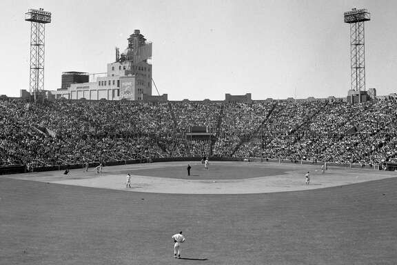 Seals Stadium in San Francisco in the 1940s. The Mission District stadium hosted the Seals and the Giants.