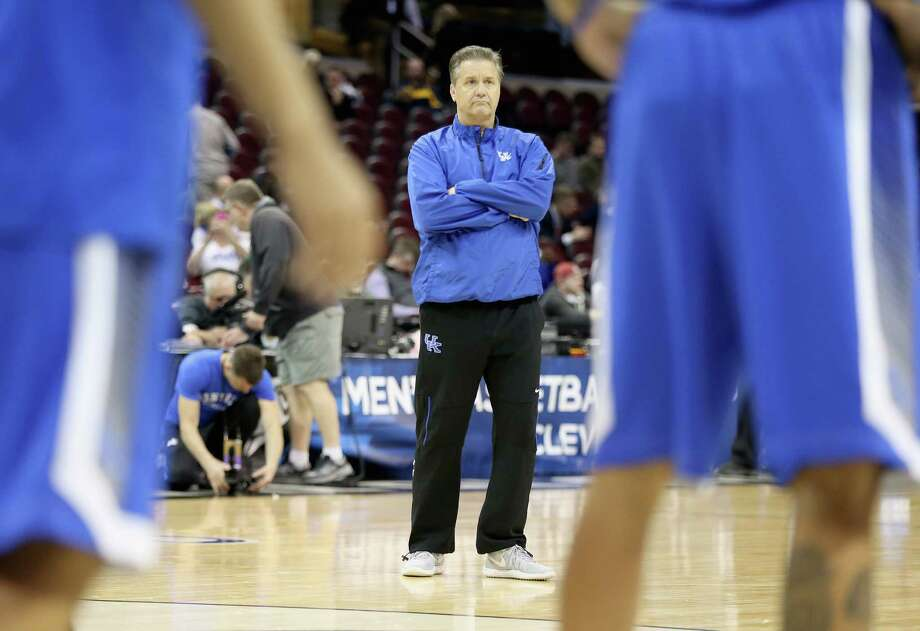 Kentuck coach John Calipari watches his team practice for its Midwest Regional round of 16 game against West Virginia on March 25, 2015 in Cleveland. Photo: Andy Lyons /Getty Images / 2015 Getty Images