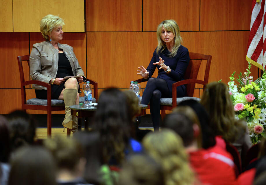 "Linda McMahon, left, hosts the third installment of her ""Women Can Have it All"" series with guest Bonnie Hammer, held at the Schine Auditorium at Sacred Heart University in Fairfield, Conn. on Wednesday Mar. 25, 2015. Hammer is the CHairman of NBC Universal Cable Entertainment. The series highlights how women can ""have it all"" by balancing career, family, freindships, and personal time. Photo: Christian Abraham / Connecticut Post"