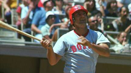 NEW YORK - CIRCA 1975: Outfielder Carl Yastrzemski #8 of the Boston Red Sox bats against the New York Yankees during an Major League Baseball game circa 1975 at Yankee Stadium in the Bronx borough of New York City. Yastrzemski Played for the Red Sox from 1961-83.