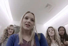 Emma Dwyer (left), Hunter King, Madison Deadman and Mariah Harrison appear in a faux documentary.