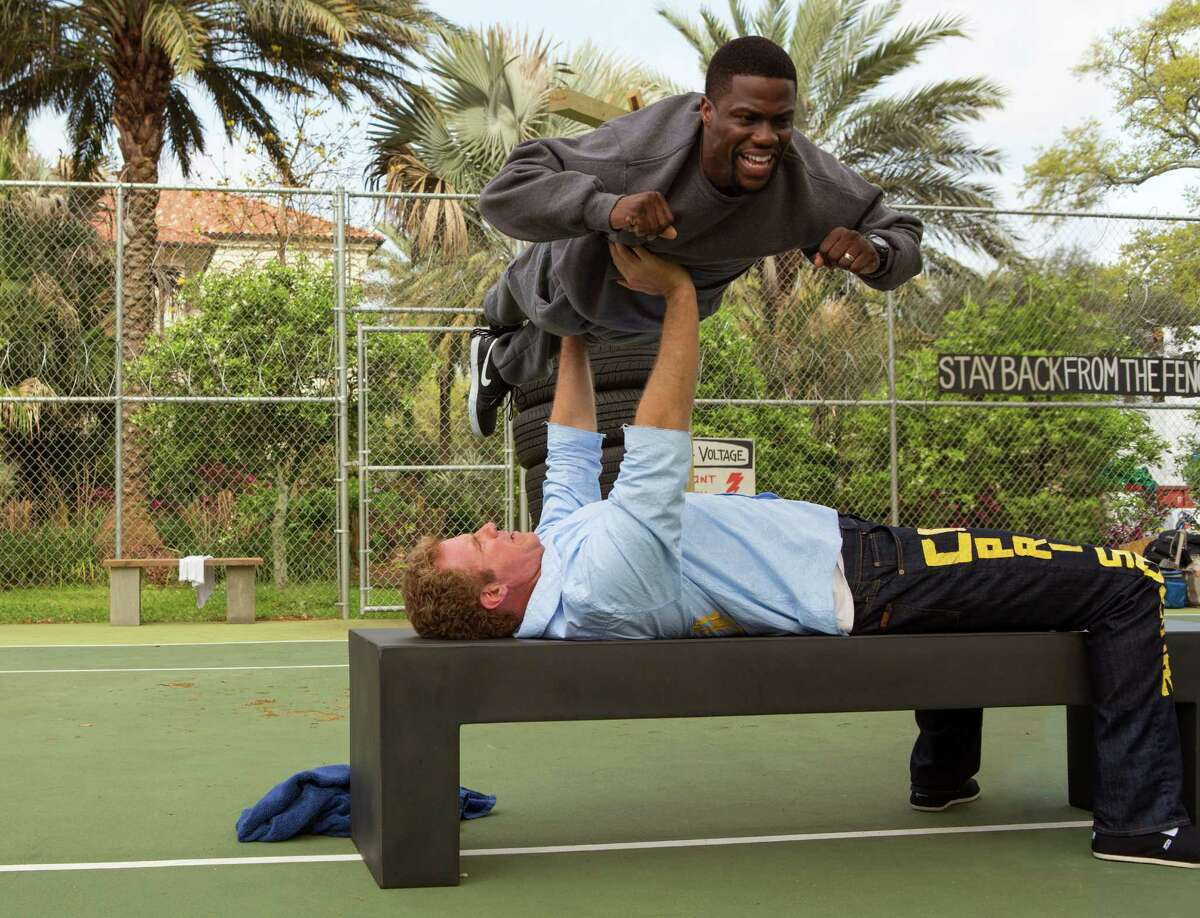 """Kevin Hart (top) stars as a man posing as an ex-con to coach a stock trader heading to prison, played by Will Ferrell, in the comedy """"Get Hard,"""" which goes to the edge of its R rating."""