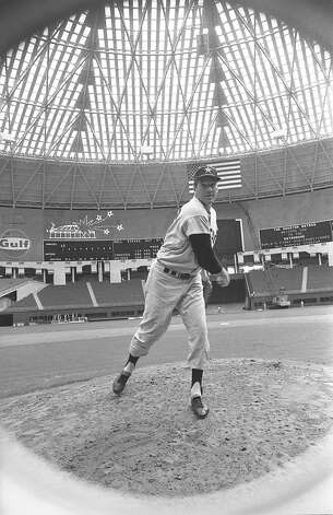 Astros pitcher Dick Farrell inside the Astrodome, 1965. Photo: Houston Post / Houston Chronicle