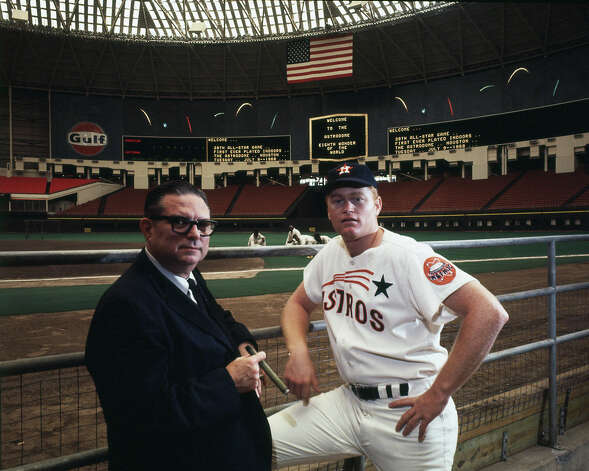 Roy Hofheinz and Rusty Staub inside the Astrodome, 1968. Photo: Houston Post / Houston Chronicle