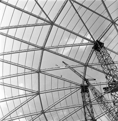 Work on Astrodome roof, circa early 1964. Photo: Unknown, Houston Post / Houston Chronicle