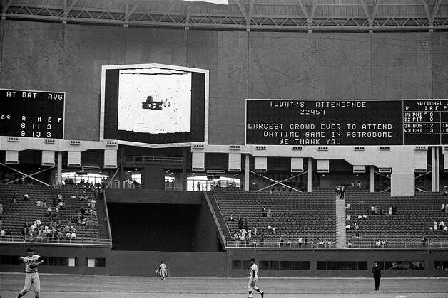Astrodome interior, April 1965. Photo: Houston Post / Houston Chronicle
