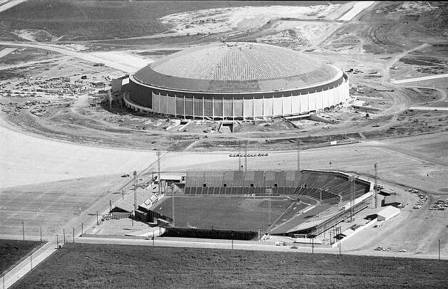 Colt Stadium in foreground with Astrodome construction in background, early 1960s. Photo: Houston Post / Houston Chronicle