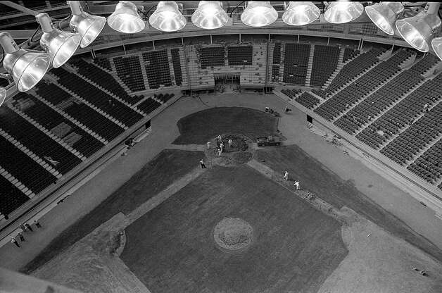 View of Astrodome home plate from gondola, 1965. Photo: Houston Post / Houston Chronicle