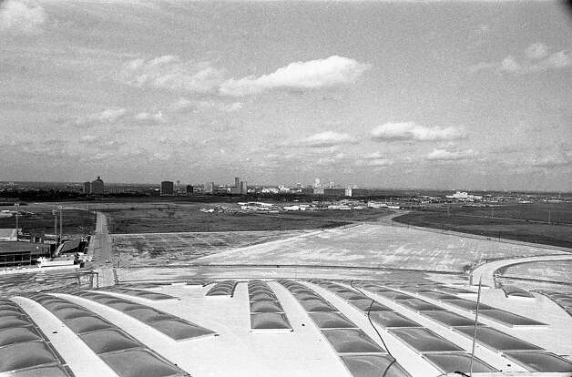Looking toward the Texas Medical Center from the Astrodome roof, 1965. Photo: Houston Post / Houston Chronicle