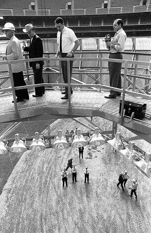 Inside the Astrodome gondola, 1965. Photo: Houston Post / Houston Chronicle