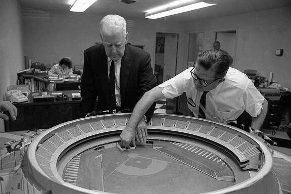 "Houston Sports Association executives R.E. ""Bob"" Smith, left, and Roy Hofheinz, early 1960s."