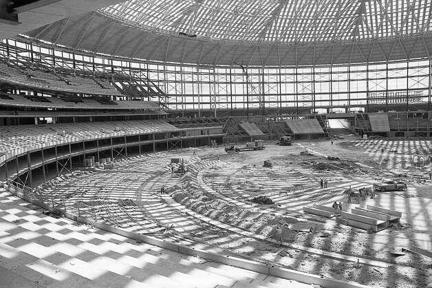 Astrodome construction, circa late 1964. Photo: Houston Post / Houston Chronicle