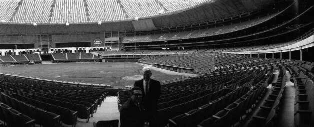 "Roy Hofheinz and R.E. ""Bob"" Smith inside the Astrodome, 1965. Photo: Houston Post / Houston Chronicle"