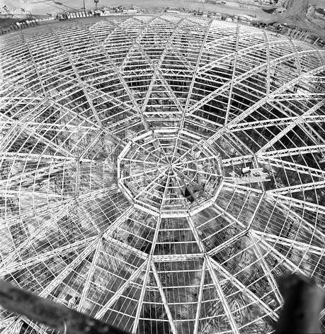 Aerial view of Astrodome construction. Photo: Houston Post / Houston Chronicle