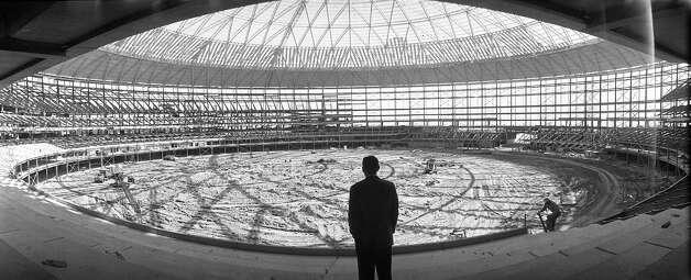 Astronaut Alan Shepard inside the Astrodome, 1964. Photo: Houston Post / Houston Chronicle