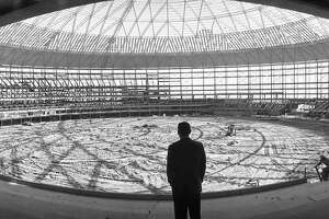 Astronaut Alan Shepard inside the Astrodome, 1964.