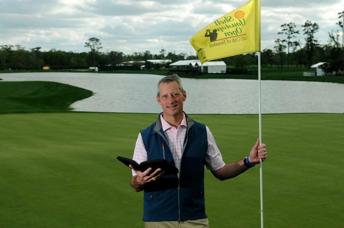 Rev. Trey Little stands on the 18th green at the Golf Club of Houston near where he will deliver his Easter Sunday address during the Shell Houston Open.