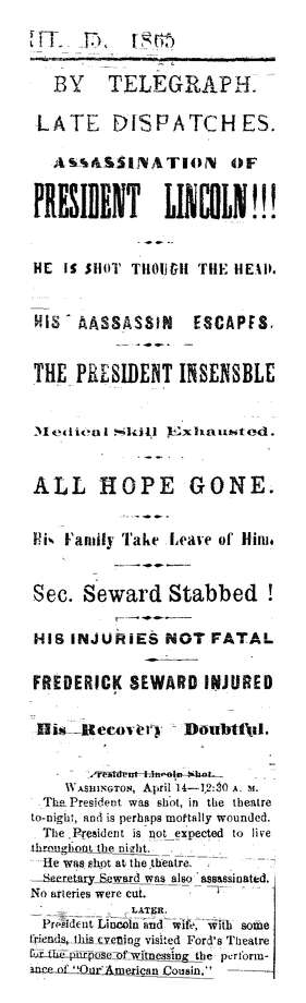 A headline from the Albany Times and Courier, predecessor to the Times Union, dated April 15, 1865. Photo: Courtesy Times Union Archives
