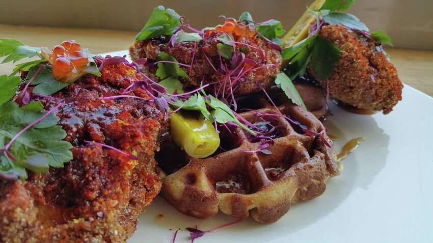 Fish and Waffles from the brunch menu at Starfish restaurant.