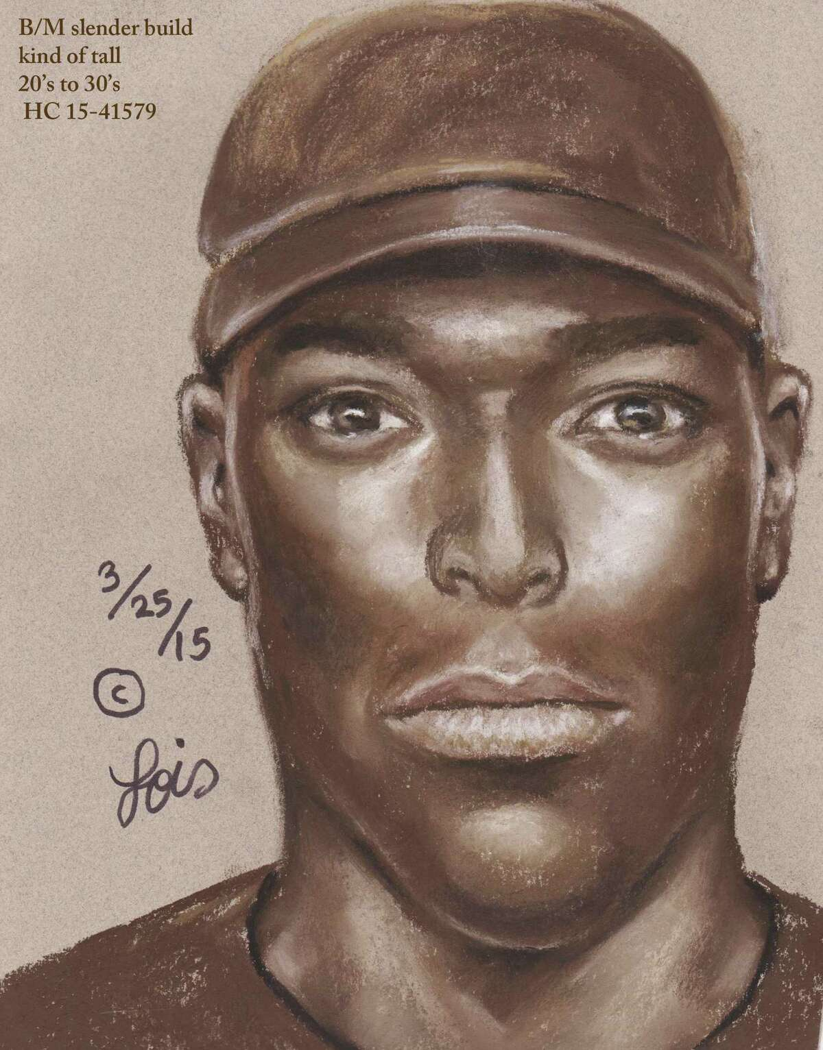 Authorities have released a sketch of a man suspected of shooting and wounding a woman in a road-rage incident during rush hour Friday morning along Interstate 45 in north Harris County.