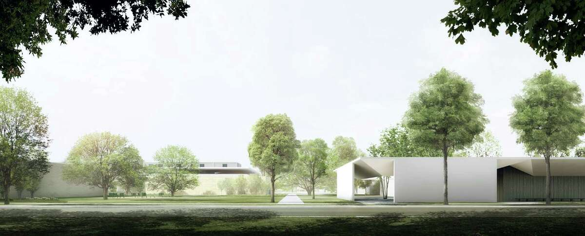 A rendering of the extended southern portion of the Menil Collection campus, including the new Energy House, the existing Cy Twombly Gallery, the new Menil Drawing Institute and new park spaces as viewed from the south side of an extended West Main Street. The campus extension is due to be completed in 2017.
