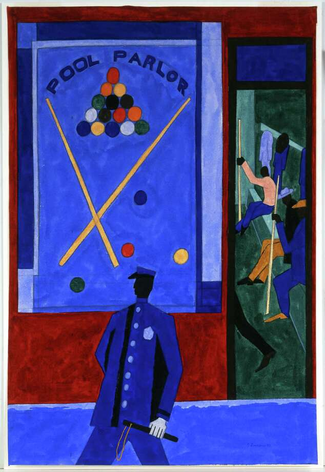 """Harlem Renaissance artist Jacob Lawrence's 1943 painting, """"At Times It's Hard to Get a Table in a Pool Room,"""" gouache and graphite on paper. Photo: Cantor Center / ONLINE_YES"""