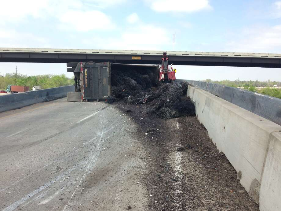 Metal shavings spilled from an overturned 18 wheeler on Eastex Freeway on March 26, 2015. Photo: TxDOT