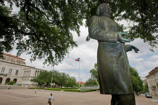Jefferson Davis statue at the University of Texas AustinThe statue of Confederate President Jefferson Davis was removed from University grounds in 2015, but later returned and is now an exhibit at the Briscoe Center for American History. Photo: Ralph Barrera/Austin American-Statesman / Austin American-Statesman