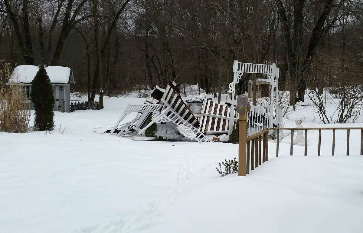 A gazebo in the backyard of Fran and Tony Paolitto's home in Stamford, Conn., which Tony built. The gazebo fell Wednesday, March 4, 2015, due to the winter weather.