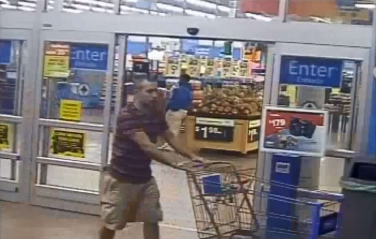 Houston Police are searching for this man, who they say set fire to a shipping container behind a Walmart after going shopping inside.