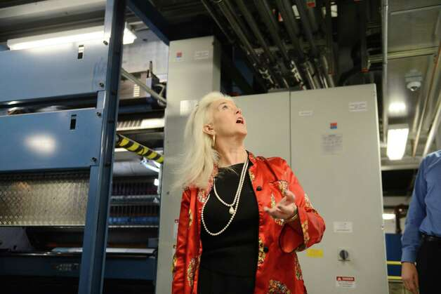 Syndicated columnist Heloise tours the Times Union's pressroom Thursday, March 26, 2015, in Colonie, N.Y. (Will Waldron/Times Union) Photo: WW