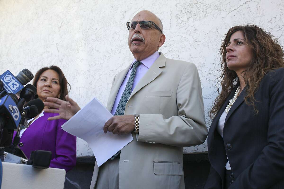 Daniel Russo, lawyer for Aaron Quinn speaks during a press conference attempting to dispel Quinn's involvement in the Kidnaping of his girlfriend Denise Huskin, held outside the Morton & Russo Law Office in Vallejo on March 26th 2015.