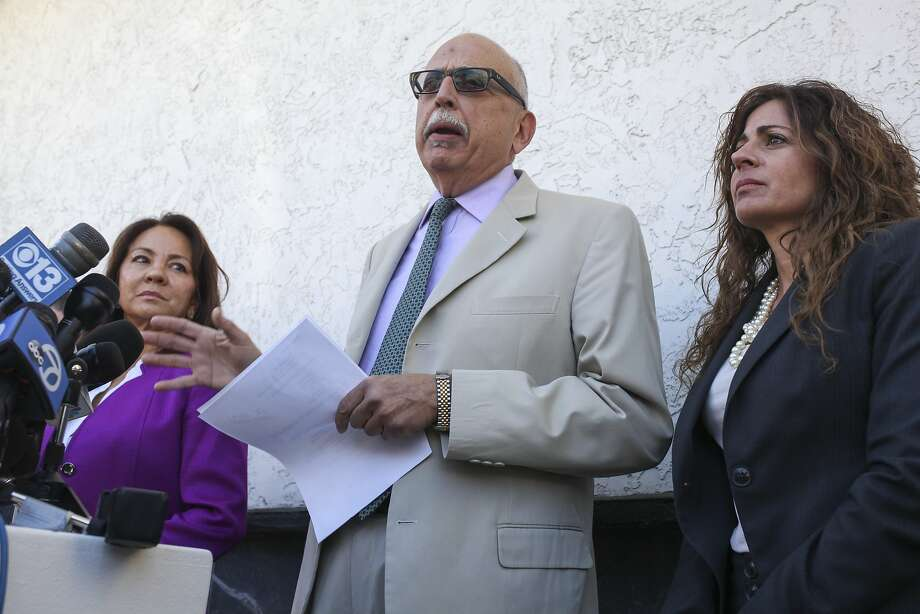 Daniel Russo, lawyer for Aaron Quinn speaks during a press conference attempting to dispel Quinn's involvement in the Kidnaping of his girlfriend Denise Huskin, held outside the Morton & Russo Law Office in Vallejo on March 26th 2015. Photo: Sam Wolson, Special To The Chronicle