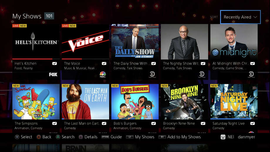 Here's an example of the My Shows portion of the Sony PlayStation Vue interface. Vue is now available in New York, Chicago and Philadelphia. Photo: Uncredited / Associated Press / Sony