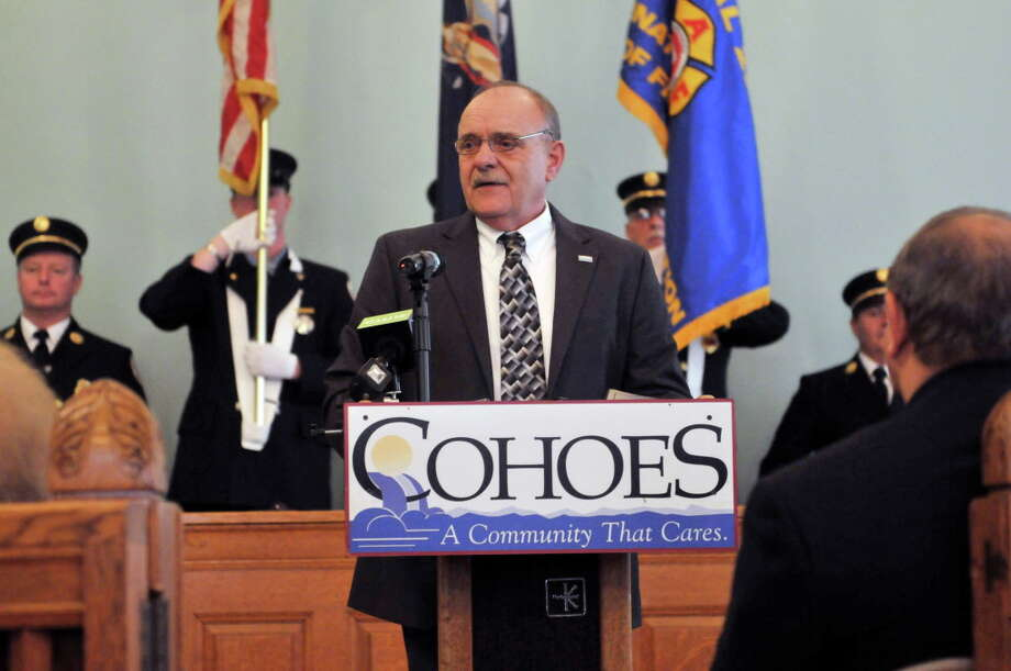 Cohoes Mayor George Primeau addresses those gathered for his swearing-in ceremony on Tuesday, Dec. 31, 2013 in Cohoes, NY.     (Paul Buckowski / Times Union archive) Photo: PAUL BUCKOWSKI / 00025199A
