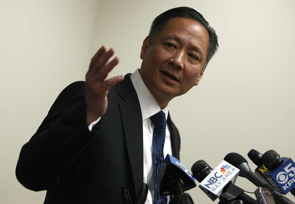 Public defender Jeff Adachi plays audio at the S.F. Public Defender's Office, Thursday, March 26, 2015, in San Francisco, Calif. The audio is a testimony of an inmate saying that S.F. sheriff deputies are staging cage-fight style matches between inmates for their entertainment and gambling purposes.