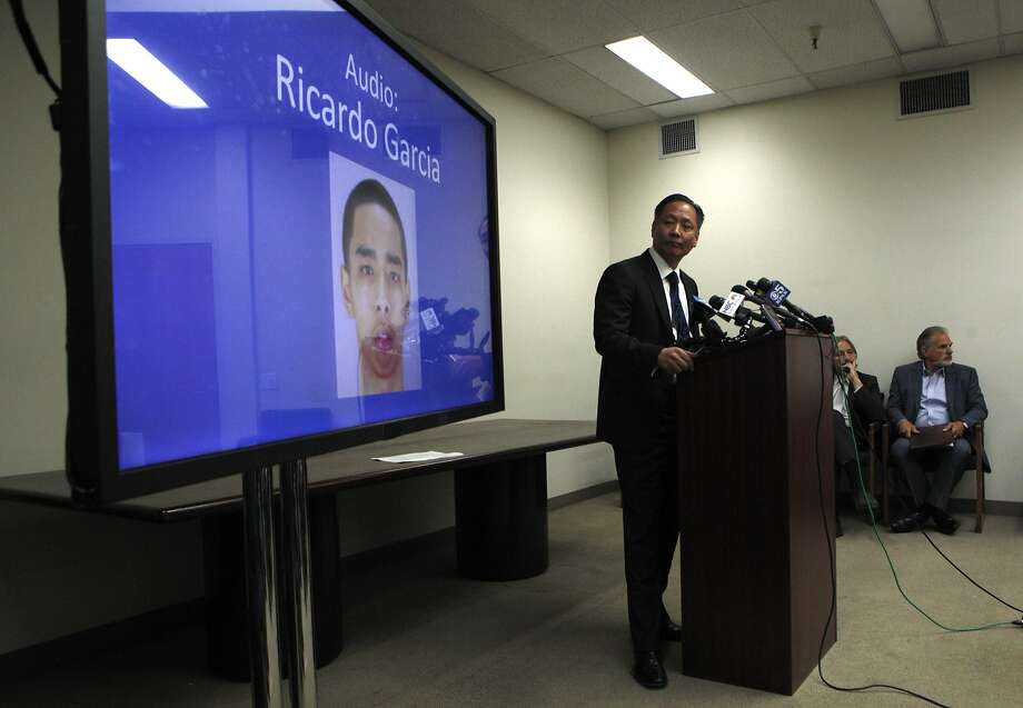 Public defender Jeff Adachi plays audio at the S.F. Public Defender's Office, Thursday, March 26, 2015, in San Francisco, Calif. The audio inmate Ricardo Garcia's testimony saying that S.F. sheriff deputies are staging cage-fight style matches between inmates for their entertainment and gambling purposes. Photo: Santiago Mejia, The Chronicle
